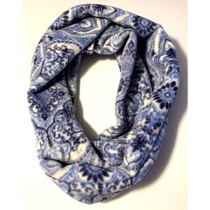 Soft Blue Paisley Design Fleece Infinity Scarf